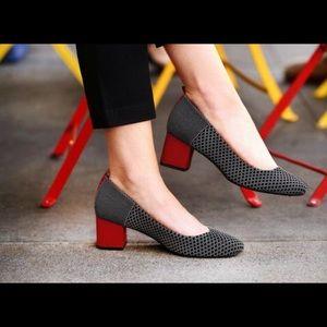Beta brand Block Heels Red Black Diamond Print